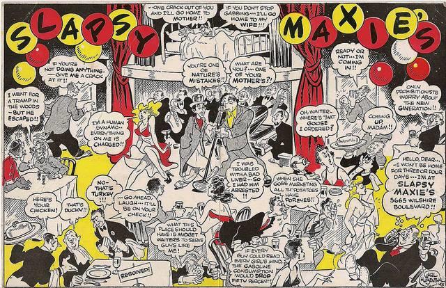 Maxie Rosenbloom cartoon at his nightclub.