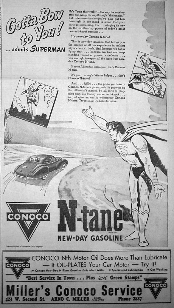 Superman Vintage Gasoline Ad.