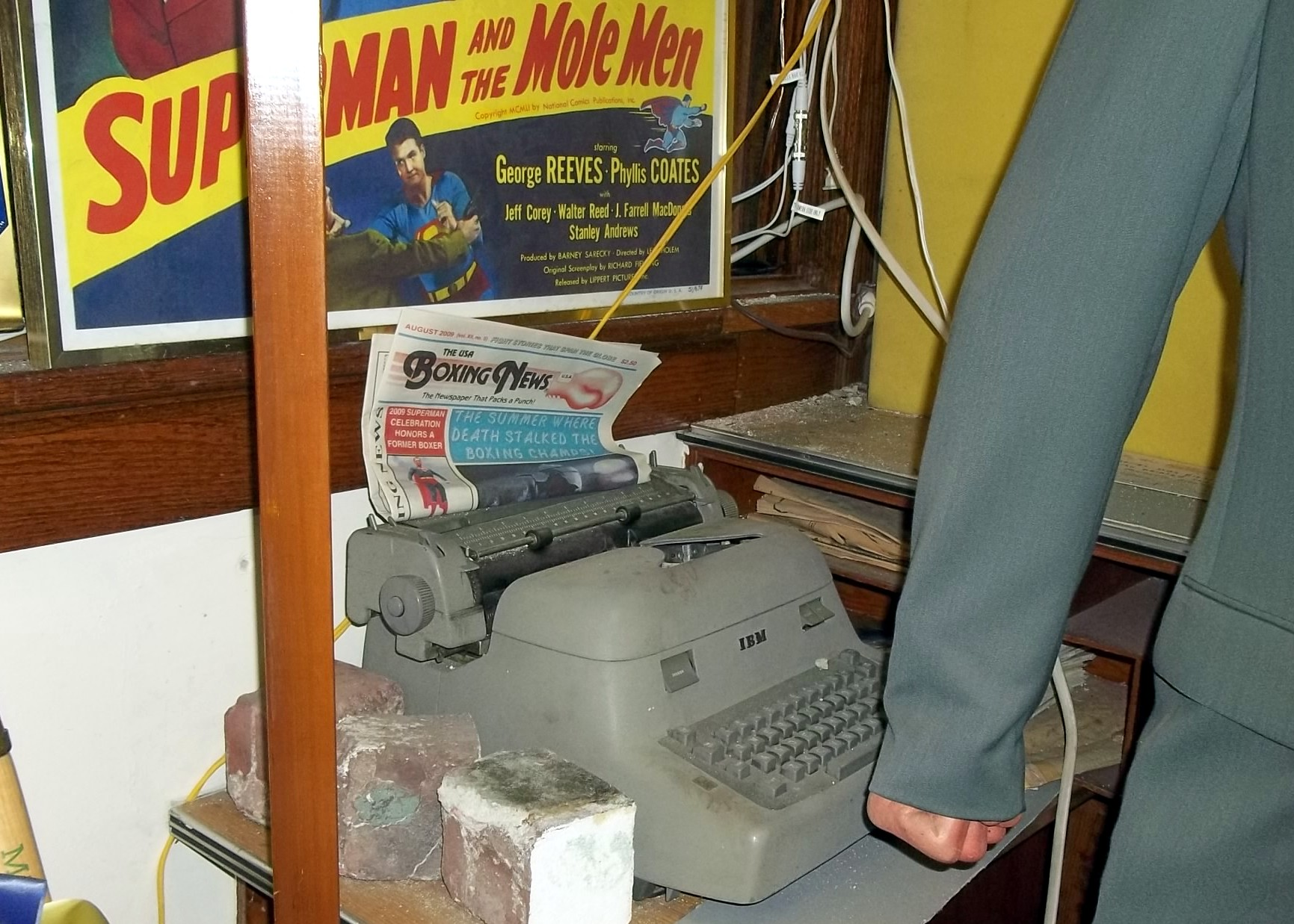 The USA Boxing News on display in the Adventures of Superman wing of the Super Museum in Metropolis, Illinois.