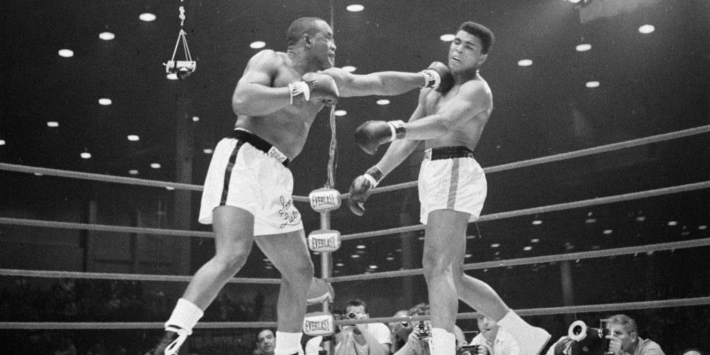 Liston (L) nails Ali with a hard left