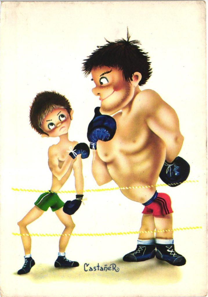 Boxing Cartoon - 1960 postcard.