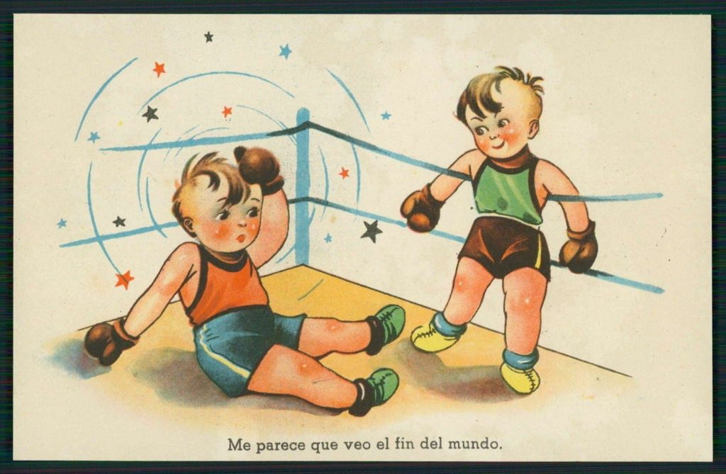 Boxing Cartoon Spanish postcard 1950's