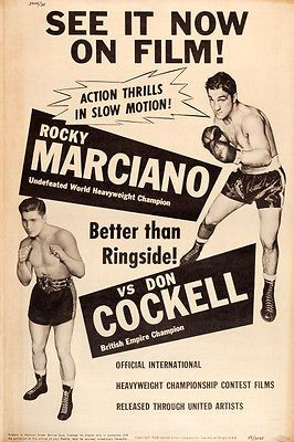 Rocky Marciano vs. Don Cockell movie poster that was in the window of the Massac Theater at the time this fight wair shown.