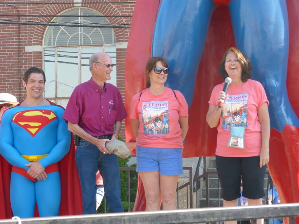 """Karla Ogle with Peter Facinelli (""""Maxwell Lord"""" in Supergirll) and Mehcad Brooks (""""James Olsen"""" in Supergirl) at 2016 Superman Celebration in Metropolis, Illinois."""