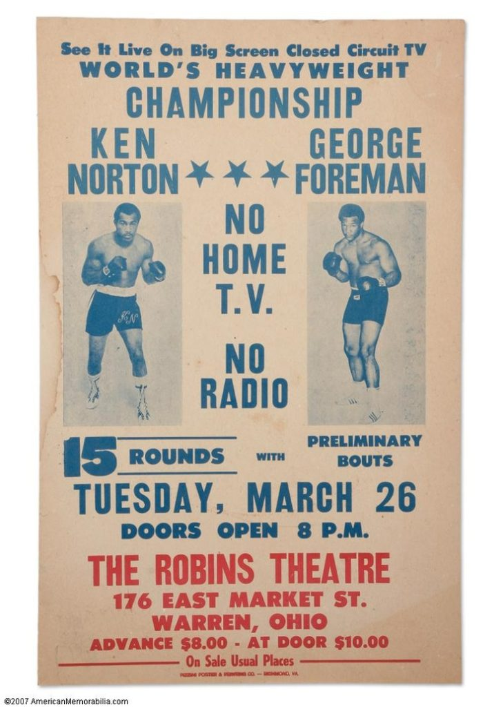 AUGUST2016George Foreman vs. Ken Norton closed-circuit fight poster.