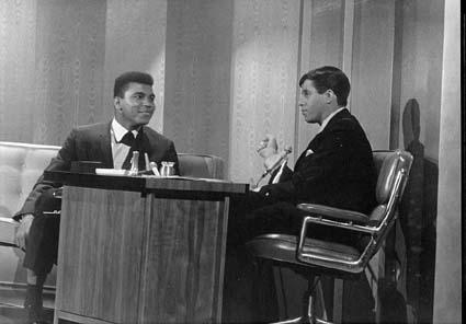 Muhammad Ali (L) with Jerry Lewis (R)