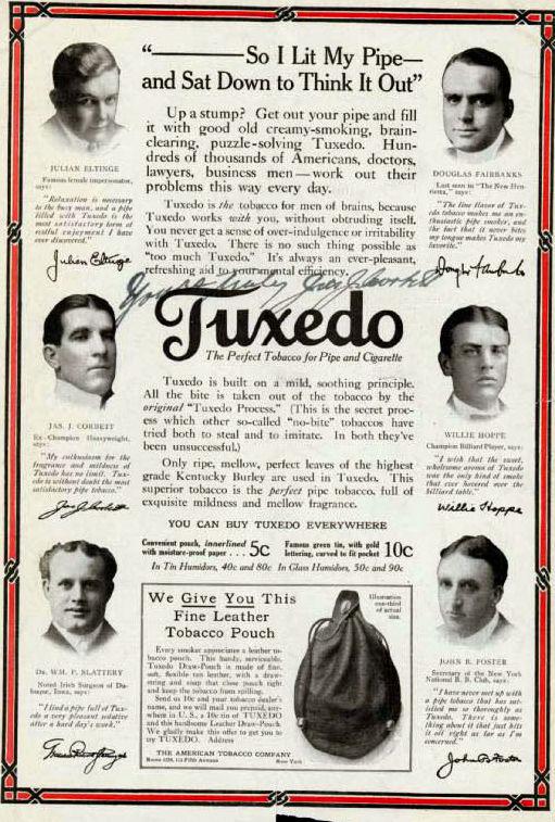 James J. Corbett Tuxedo Tobacco Ad.