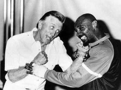 Actor Kirk Douglas with Marvelous Marvin Hagler