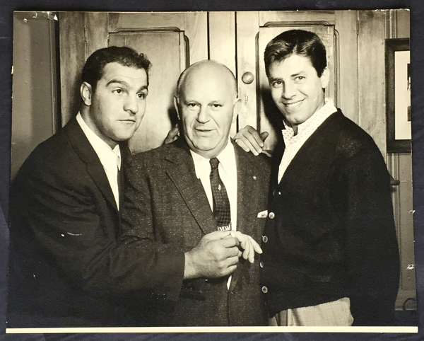 Rocky Marciano (L) with Jerry Lewis (R)