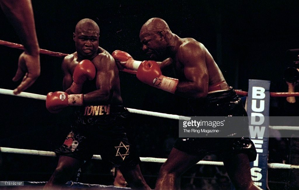 """Iran Barkley going on the attack against James """"Lights Out"""" Toney"""