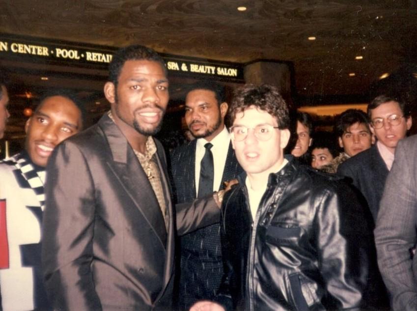 Alex Rinaldi with triple champion Iran Barkley in 1989.