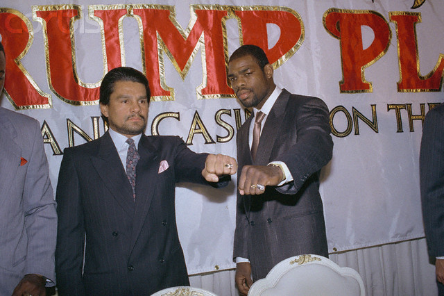 """20 Dec 1988 --- Original caption: New York: Two hit-men, Iran """"The Blade"""" Barkley (right) and Roberto Duran, unlimber the tools of their trade during press conference to announce their bout in Atlantic City on February 24th. Barkley, the WBC middleweight champ, will be making the first defense of his new title."""