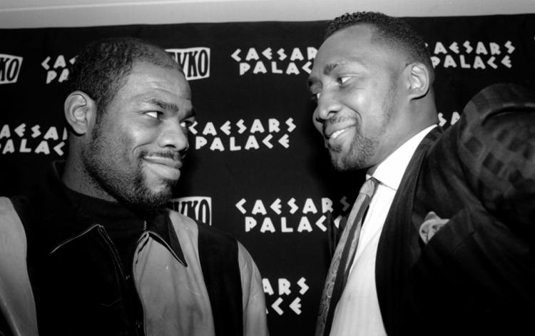 Iran Barkley and Thomas Hearns before their rematch.(CLICK PHOTO TO VIEW HIGHLIGHTS OF THE FIGHT)