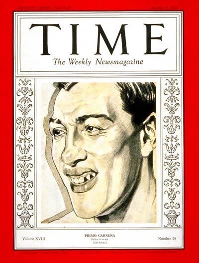 Primo Carnera on the cover of Time Magazine on October 5, 1931. (CLICK PHOTO to view Primo Carnera vs Paulino Uzcudun II fight)
