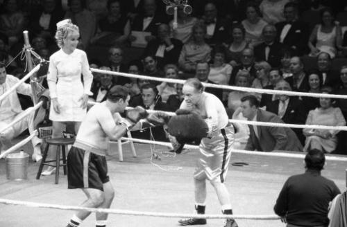 Rockly Marciano boxing Bob Hope with Barbara Eden as the nurse