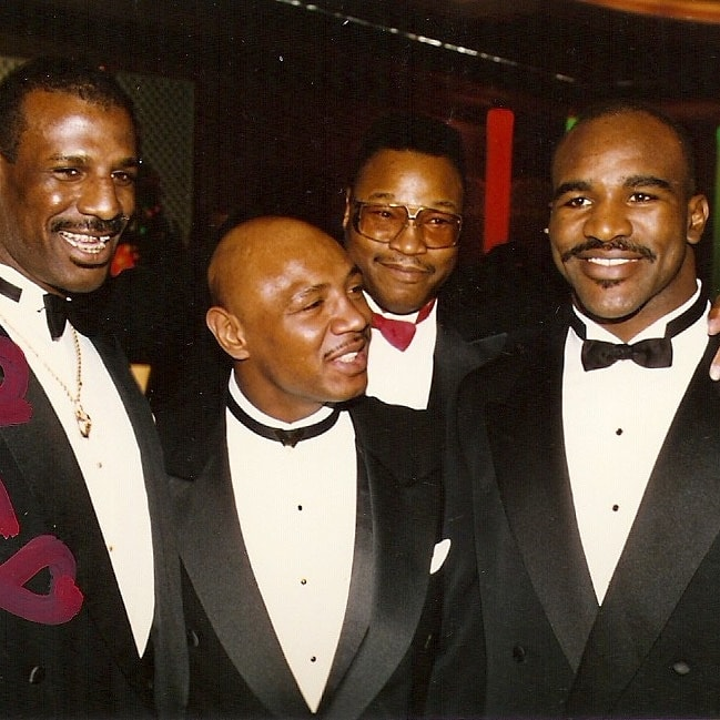 Michael Spinks, Marvelous Marvin Hagler, Larry Holmes, and Evanader Holyfield.