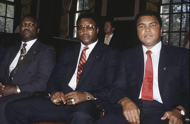 Joe Frazier, Larry Holmes, and Muhammad Ali.