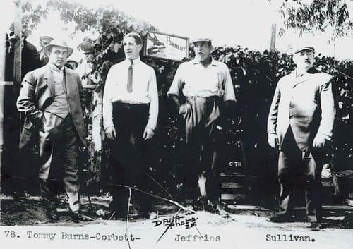 FOUR FORMER HEAVYWEIGHT CHAMPIONS - TOMMY BURNS, JAMES CORBETT, JAMES JEFFRIES, AND JOHN l. SULLIVAN