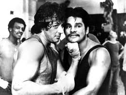 Sylvester Stallone and Roberto Duran during filming of ROCKY II where Duran played the part of a sparring partner.