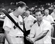 Two sluggers - Ted Williams and Rocky Marciano.