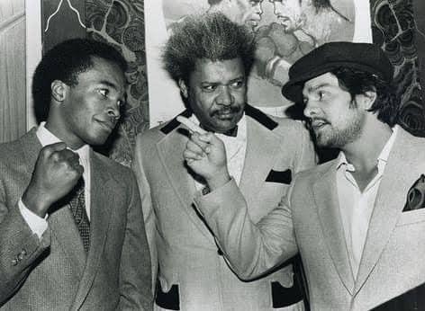 Sugar Ray Leonard, Don King, and Roberto Duran before the first Duran-Leonard fight.