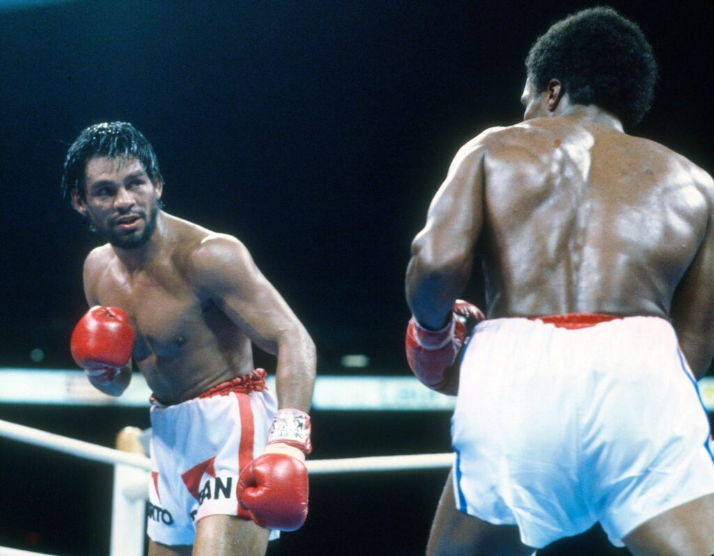 WBC Welterweight Title: Roberto Duran (R) in action vs Sugar Ray Leonard during fight at Olympic Stadium. Montreal, Canada 6/20/1980