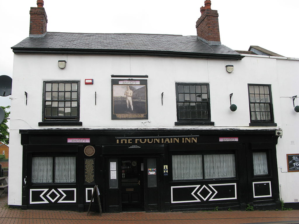 A depiction of William Perry is on the front of the Fountain Inn, located in Tipton. The establishment was once