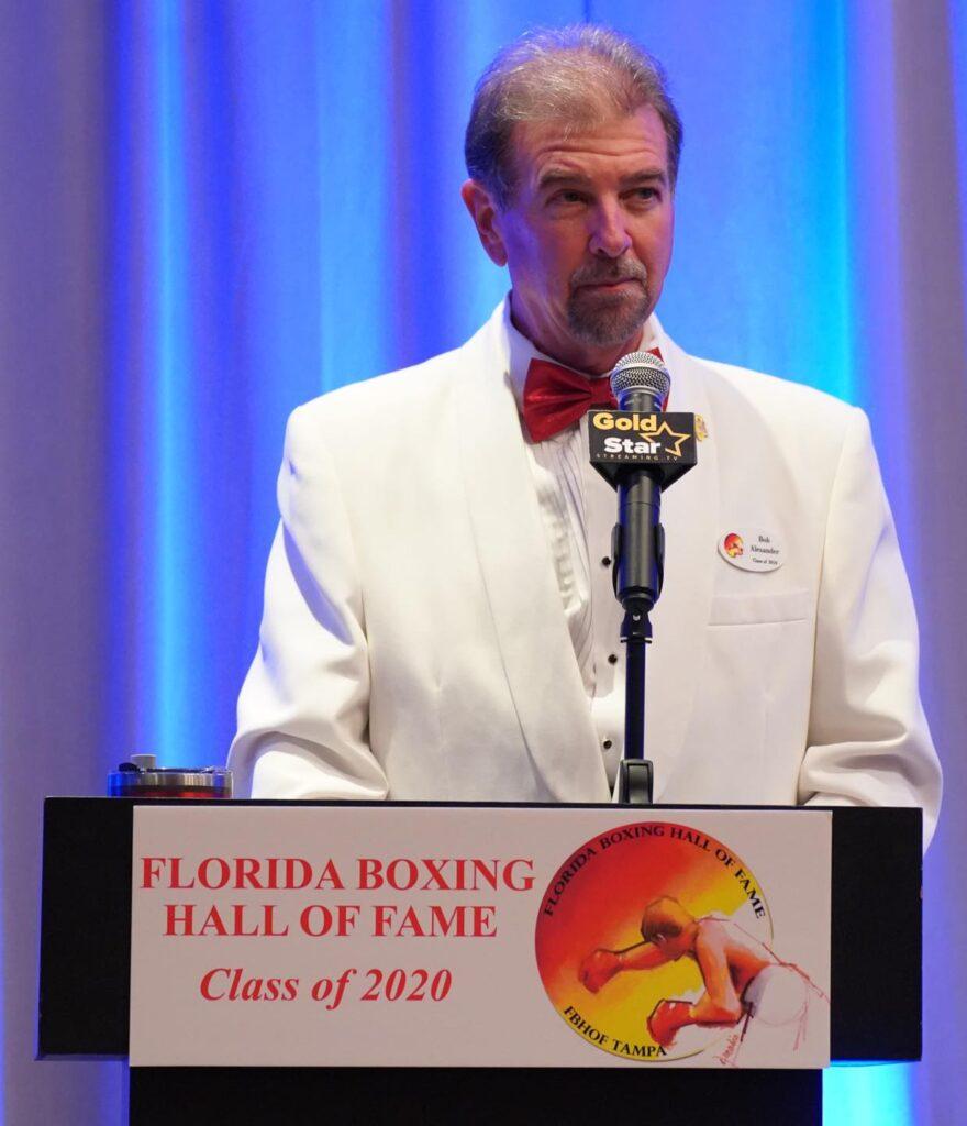 FLBHOF Alumni Bob Alexander opens up the ceremony on Saturday night during the FLBHOF Gala Dinner.