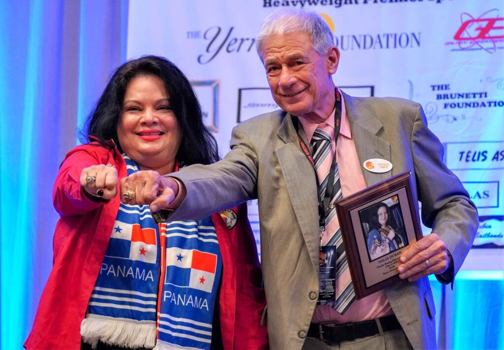 L-R 2020 Inducted Dalia Duran with the new FLBHOF President Steve Canton.
