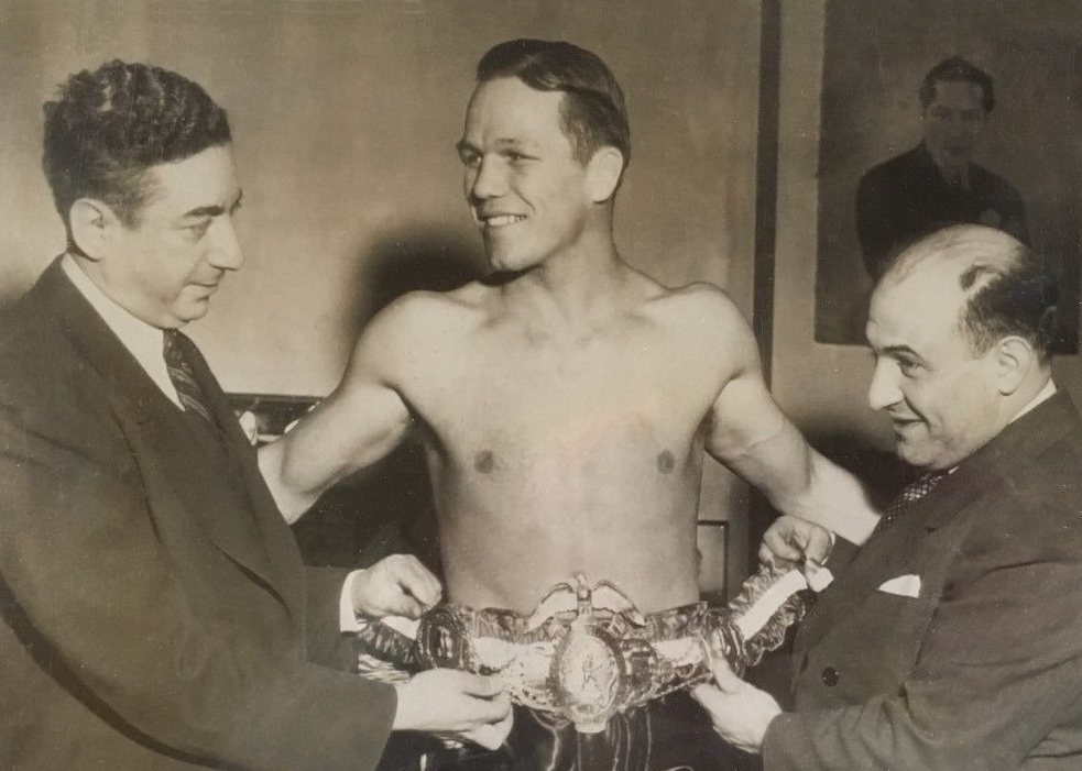 Tony Zale being awarded the Middleweight Championship Belt in 1942.