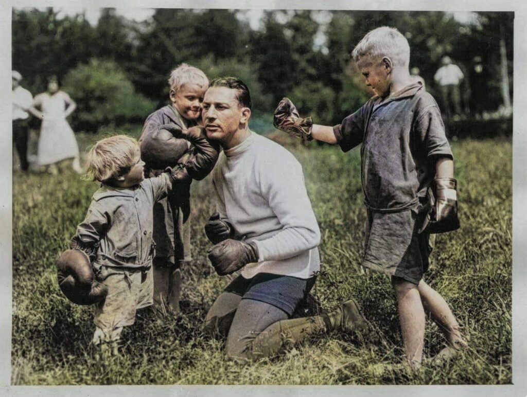 Lightweight champion Benny Leonard at camp in Tennersville NY in 1924.