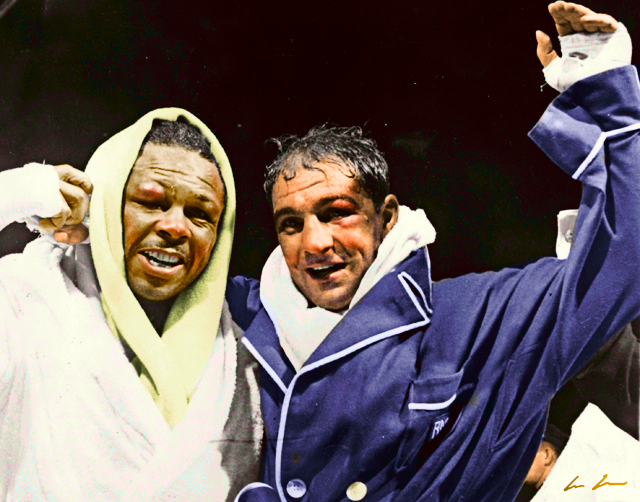 Rocky Marciano (R) and Archie Moore (L) after their September 21, 1955 bout where Rocky retained his Heavyweight Title by 9th round KO.