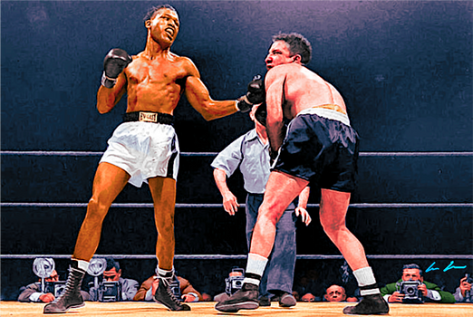 Sugar Ray Robinson (L) pummeling Champion Jake LaMotta (R) in their February 14, 1951 bout at Chicago