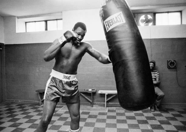 Heavyweight Champion Larry Holmes in training in 1979.