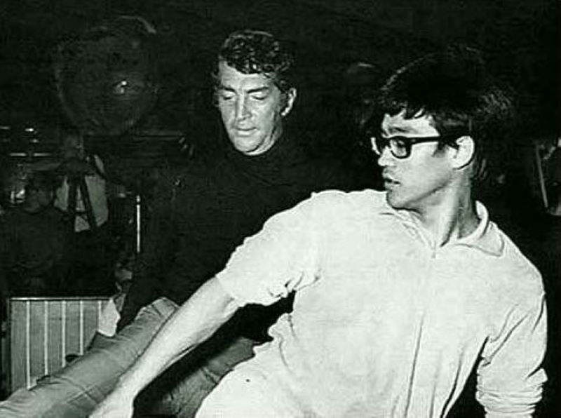 Dean Martin (L) training with Bruce Lee (R) before the Matt Helm film in 1966.