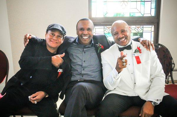 A recent photo of Roberto Duran (L), Sugar Ray Leonard (C), and Marvelous Marvin Hagler (R).