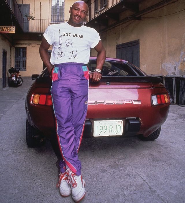 Middleweight Champion Marevlous Marvin Hagler with one of his prized cars