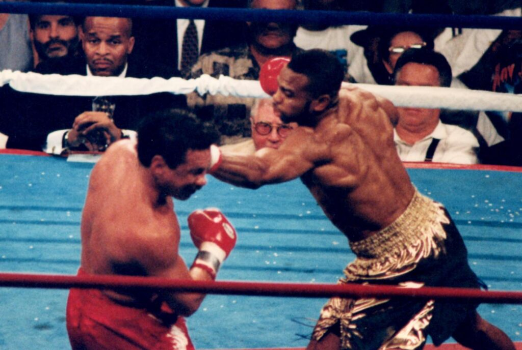 Roy Jones Jr. TKO 6 Vinny Pazienza on June 24, 1995 at Convention Hall, Atlantic City, New Jersey, and retained his IBF super middleweight title. (PHOTO BY ALEX RINALDI)