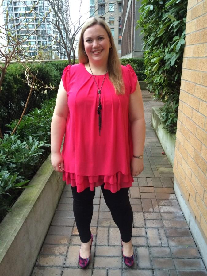 Dress - Red Coral via Your Big Sister's Closet Leggings - Addition Elle Shoes - Nine West via The Bay