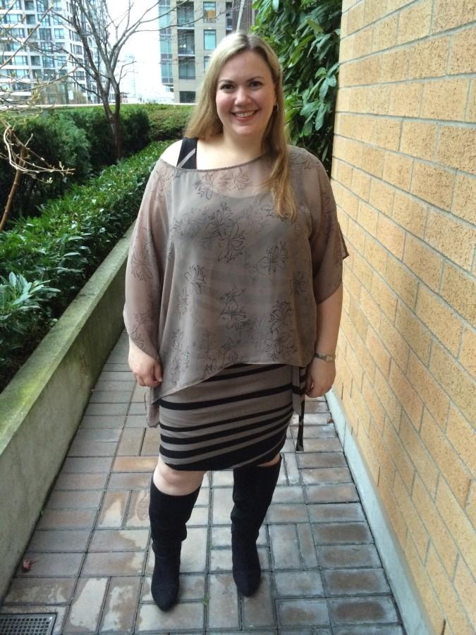 Dress, blouse - Addition Elle Boots - Lane Bryant