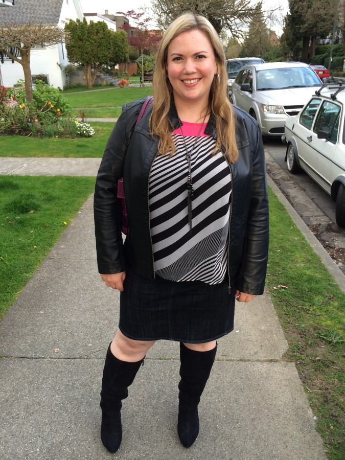 Top, Jacket, Skirt - Ricki's Bag - Coach Boots - Lane Bryant