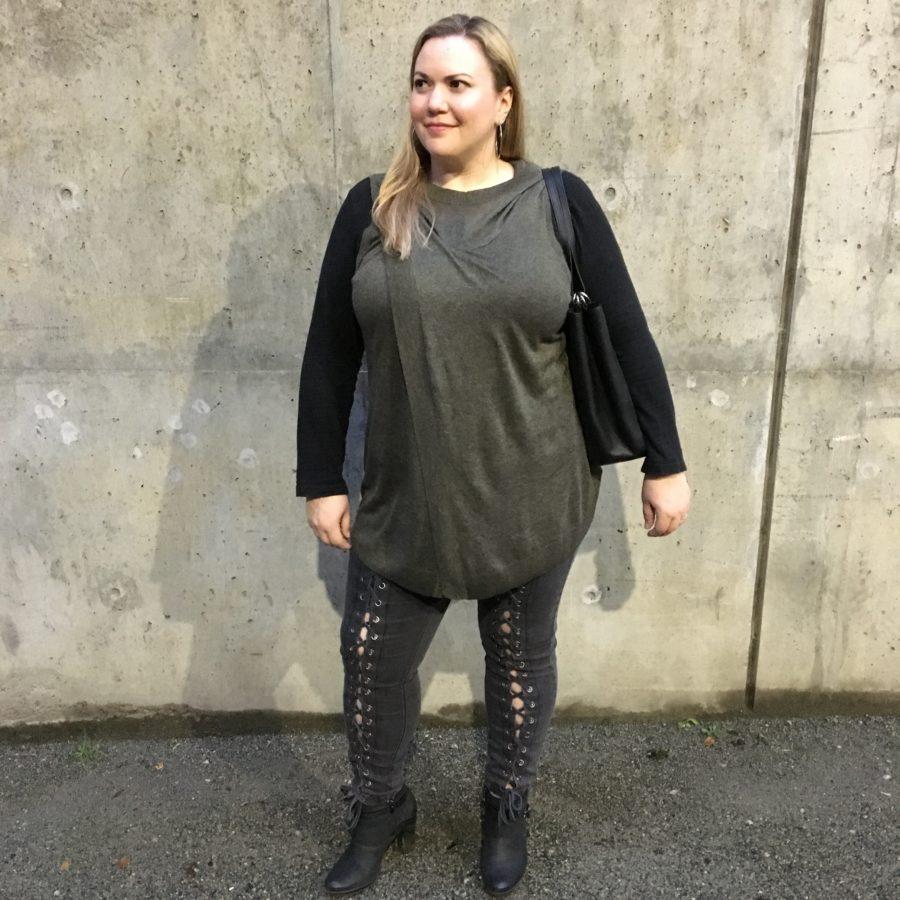 Green top, Pants - Nadia Aboulhosn for Addition Elle Black top - Ricki's Boots - Clarks Bag - Michael Kors