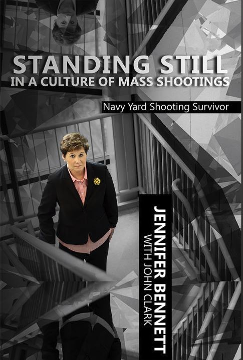 Cover of Standing Still in a Culture of Mass Shootings. Jennifer stands still at the exact location in the stairwell where she was shot.