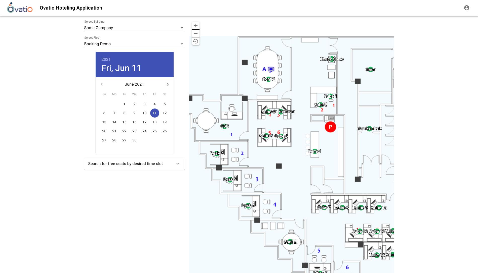 Ovatio Hoteling App UI