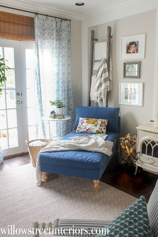 ikea chaise with navy slipcover   willow street interiors