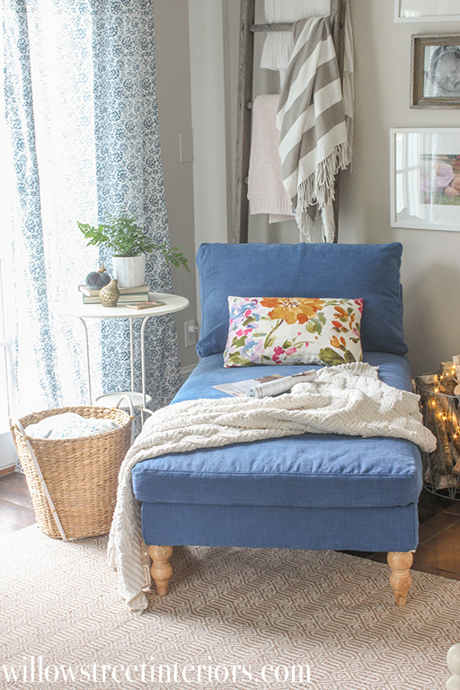 navy slipcover on an ikea chaise   willow street interiors