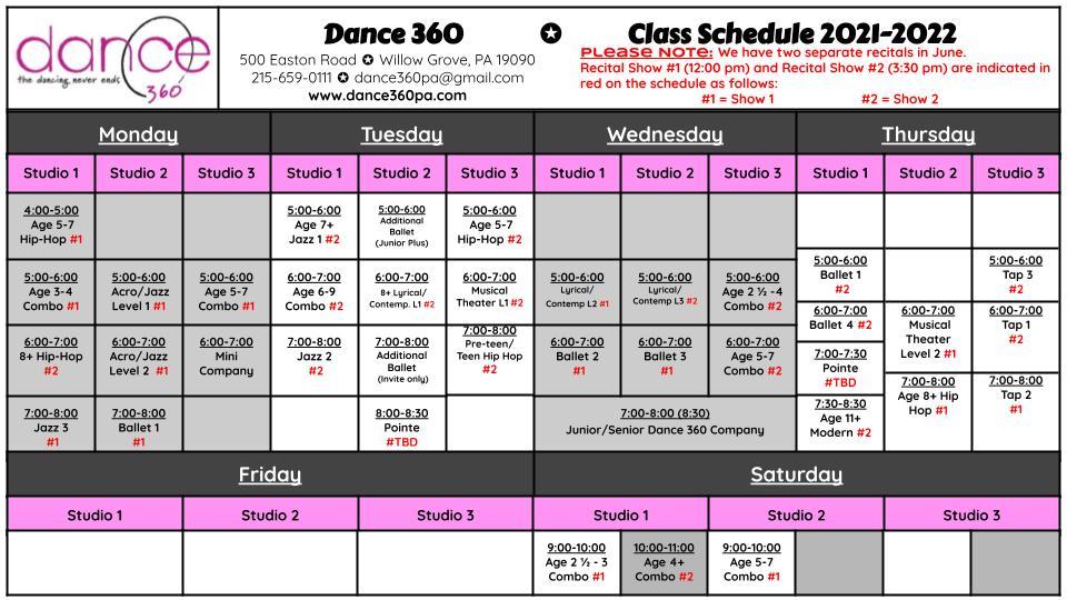 Dance 360 Schedule 2021-2022