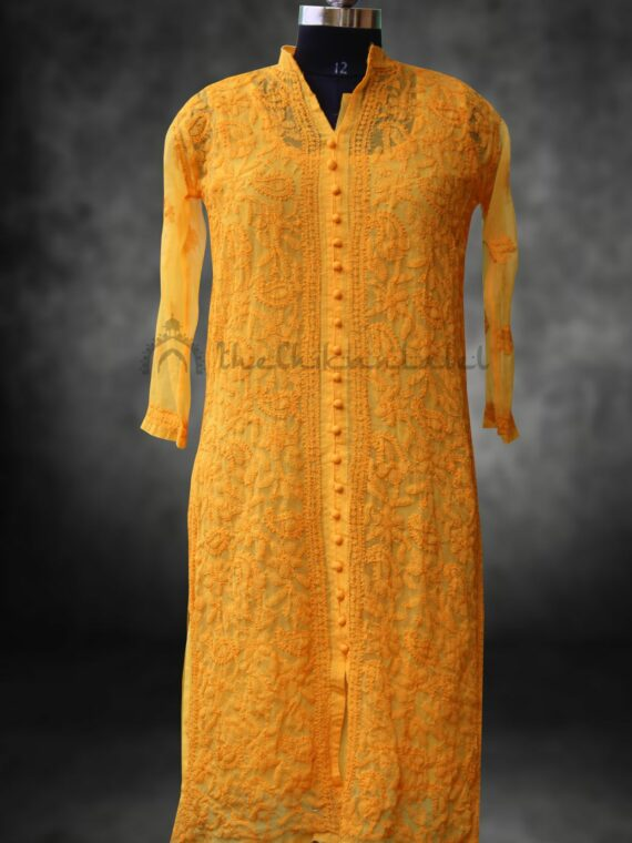 Buy Faux Georgette Lucknow Chikan Chikankari Yellow Front Button Kurti Online (3)