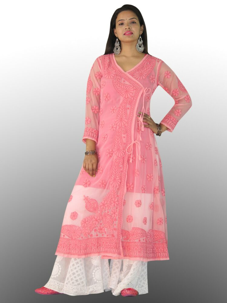 This white Angrakha is a perfect choice of attire to opt for any event or wedding wear this Lucknowi Chikankari kurti with grace. pink chikanakri angarkha
