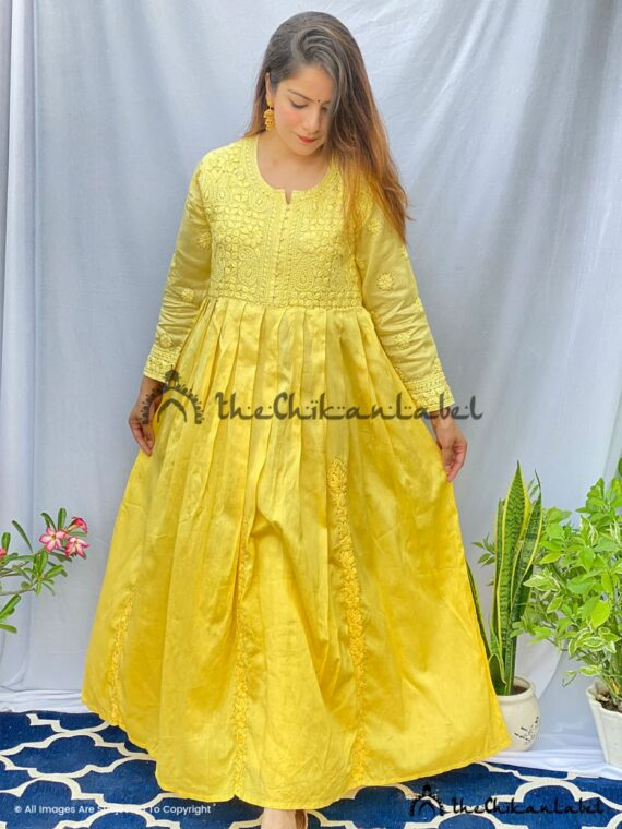 Ombre Gold Yellow Anarkali Chanderi Cotton Gown Lucknawi Chikankari, Handmade Anarkali Gown, Ethnic Wear